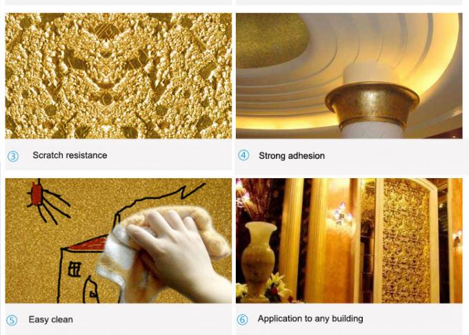 Eco - Friendly Shiny Gold Wall Paint Gold Coloured Odourless Anti - Peeling
